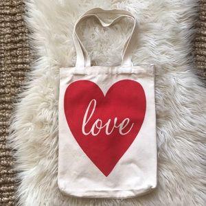 Handbags - Love heart cream canvas bag with straps